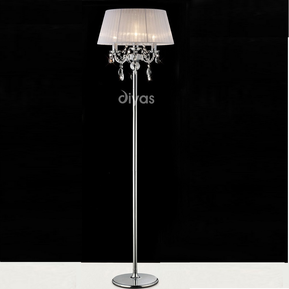 Diyas uk olivia il il30063 wh polished chrome crystal for Floor lamps uk