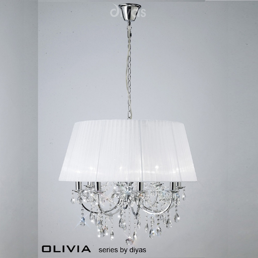 Diyas uk olivia il il30056wh polished chrome crystal eight light diyas uk olivia il il30056wh polished chrome crystal eight light pendant ceiling fitting aloadofball Image collections