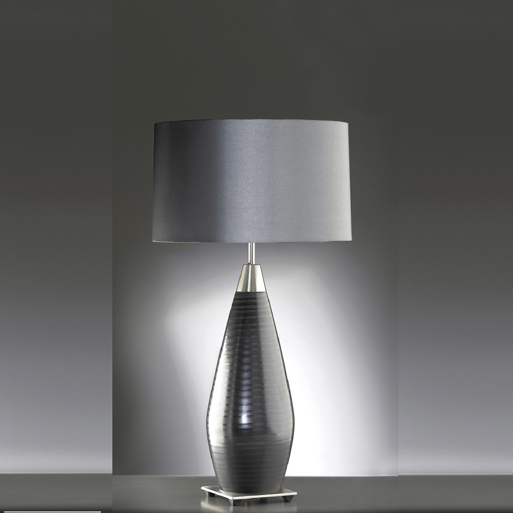 elstead lighting conrad silver black table lamp. Black Bedroom Furniture Sets. Home Design Ideas
