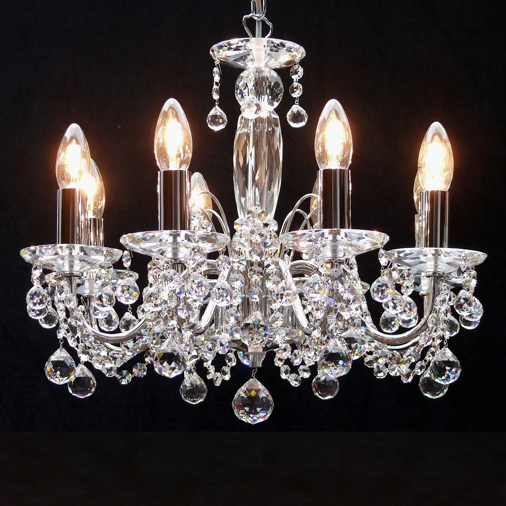 Fantastic Lighting Figaro 411 8 Chrome With Crystal Ball Trimmings Chandelier