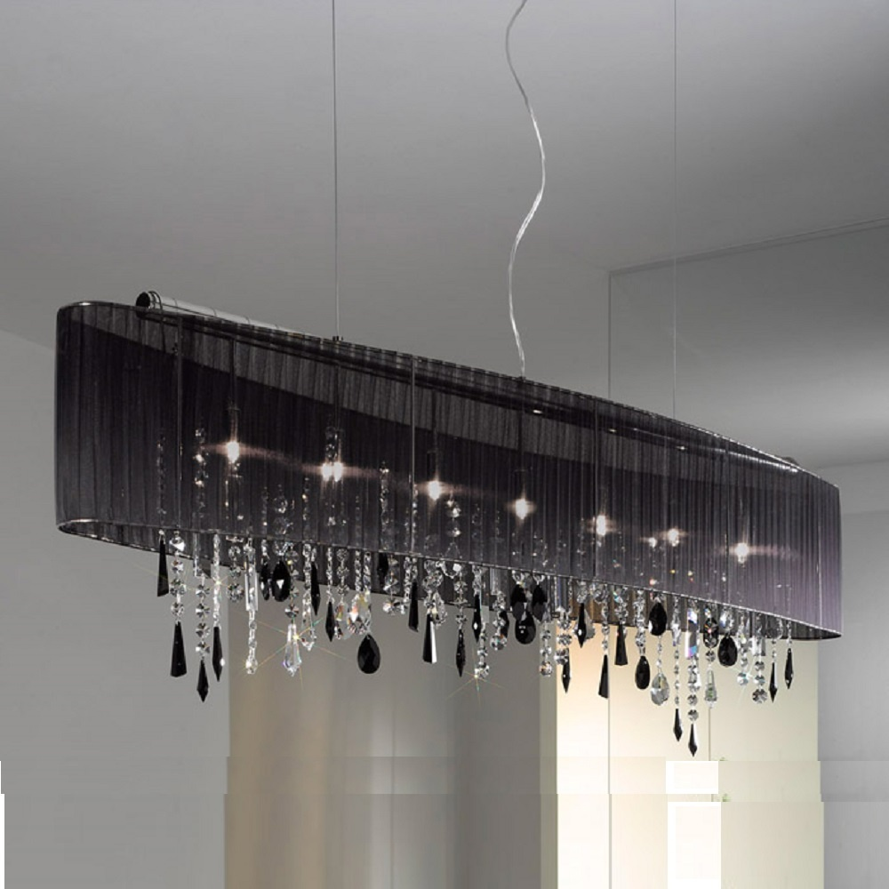 Kolarz Uk Ltd Paralume 0240 87 5 Bk Str Jet Black Swarovski Crystal Langan Chandelier With Shade Large