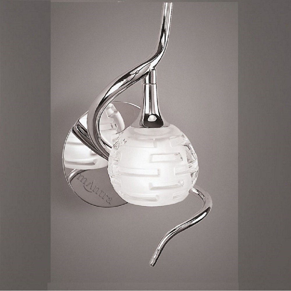 Single Chrome Wall Lights : Mantra Spain Dali M0098 Polished Chrome Single Lamp Wall Light