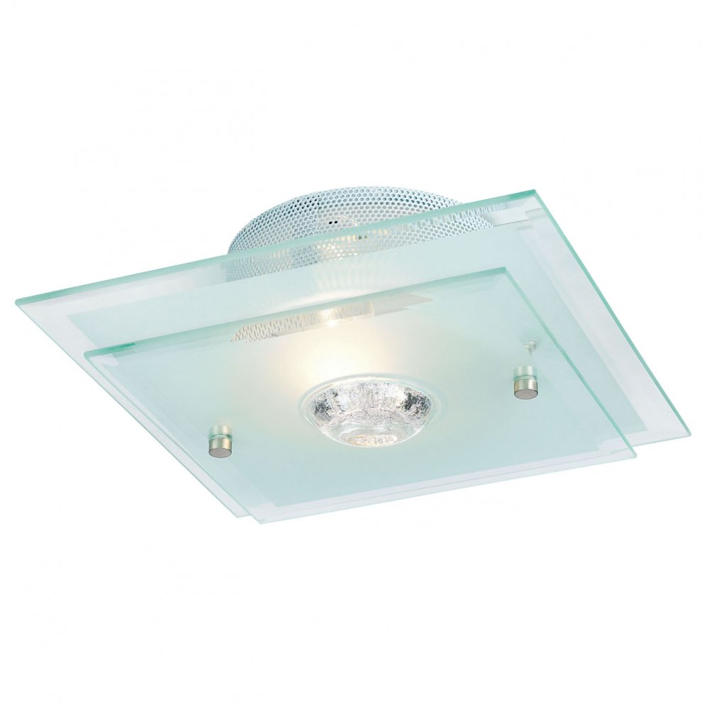 Ceiling Lights Semi Flush : Endon lighting glass semi flush ceiling light