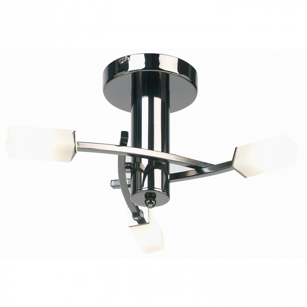 lighting endon lighting 146 3bc black chrome semi flush ceiling
