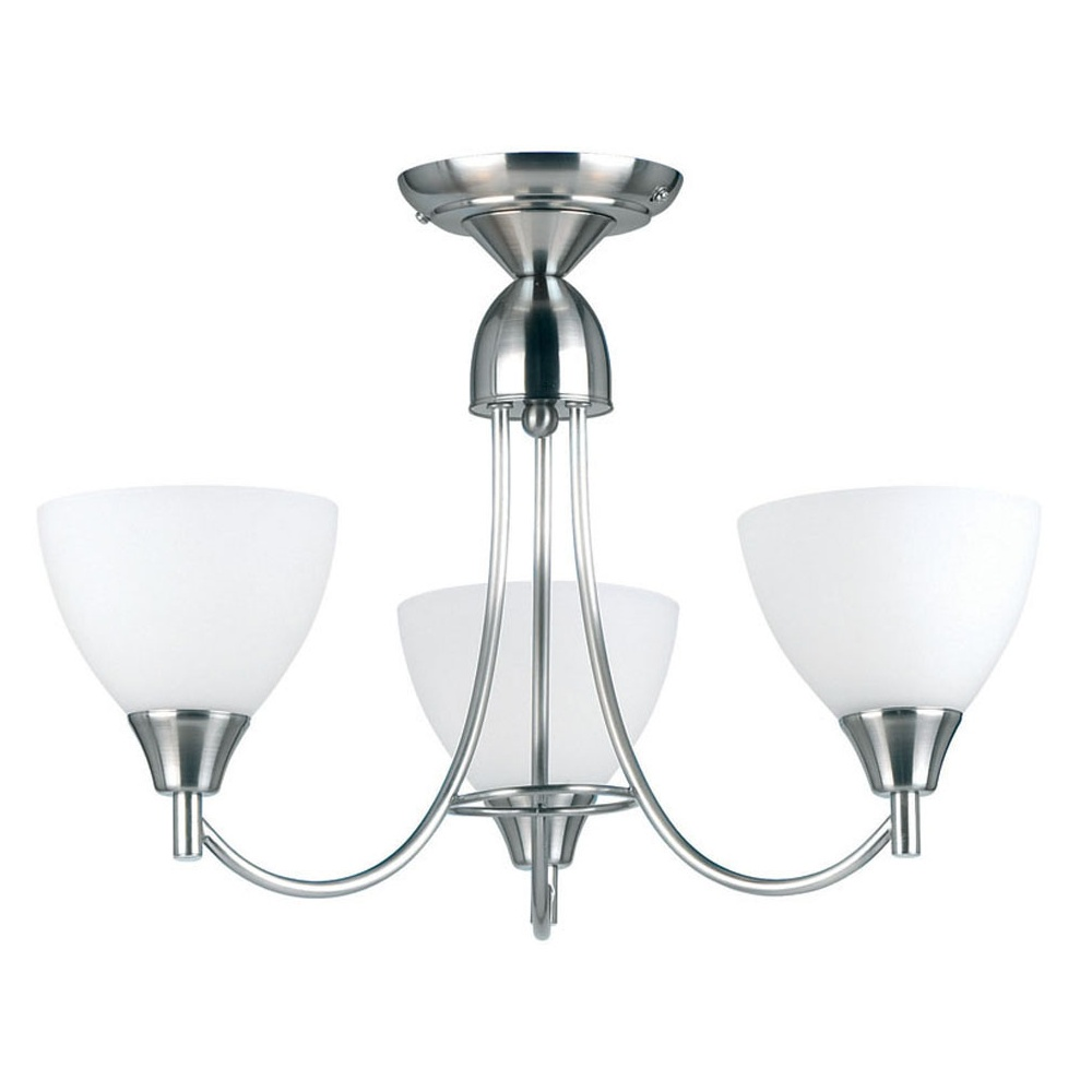 3 Bulb Ceiling Light: Endon Lighting 1805-3SC Chrome Semi Flush Ceiling Light