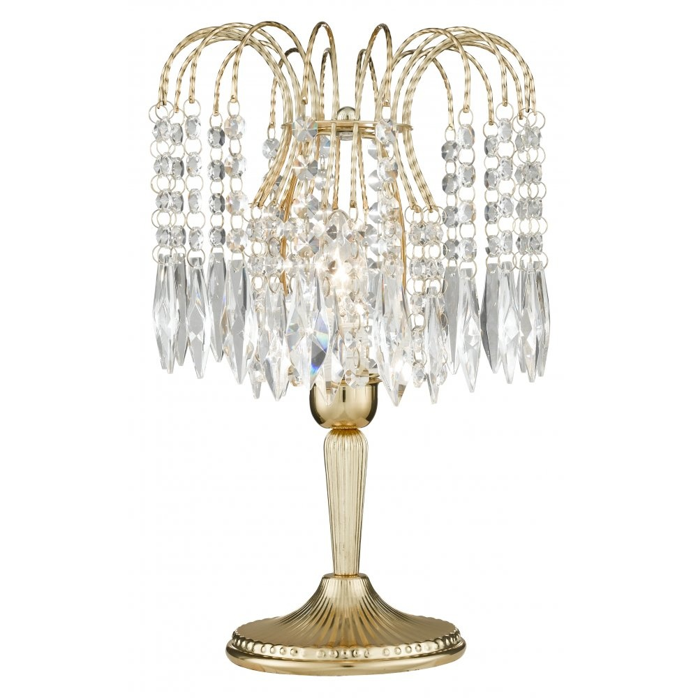 Crystal Chandelier Table Lamps: Searchlight Electric Waterfall 5171 Gold With Crystal