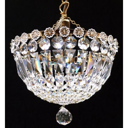 Fantastic Lighting Baguette JP/10/1 Gold Plated Crystal Czech Strass Trimmings Ceiling Light
