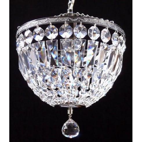 Fantastic Lighting Baguette 172/12/3 Chrome Crystal Trimmings Ceiling Light