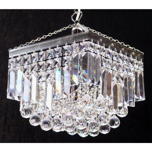 Fantastic Lighting Enigma 198/10/1 Crystal Square, Lozenge, Ball & Button Square Pendant