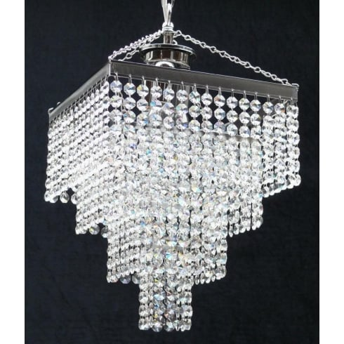 Fantastic Lighting 4 Tier 179/11/3 Crystal Button Trimmings Square Pendant