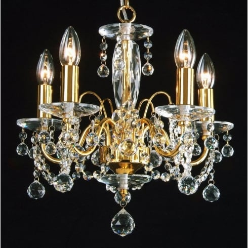 Fantastic Lighting Figaro 400/5 Gold Plated With Crystal Ball Trimmings Chandelier