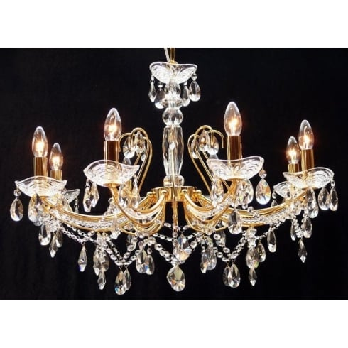 Fantastic Lighting Concerto 1525/8AP Gold Plated With Crystal  Peardrop Trimmings  Armed Pendant