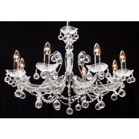 Fantastic Lighting Concerto 1524/8B Chrome Armed With Lead Crystal Ball Trimmings Pendant