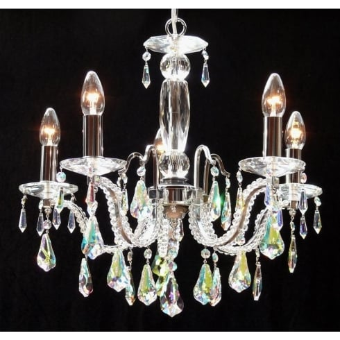 Fantastic Lighting Mozart 605/5 Chrome With Aurora Borealis Peardrop Trimmings Chandelier