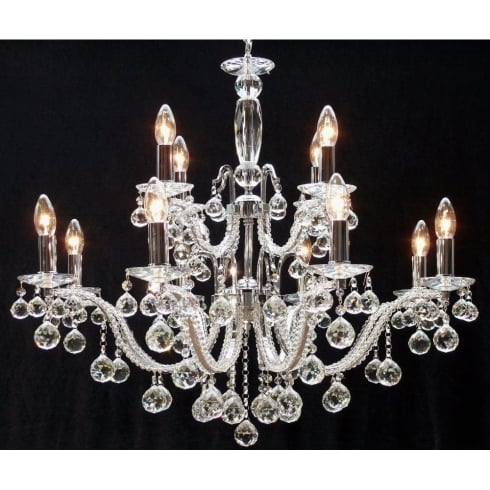 Fantastic Lighting Mozart 600/12+6 Chrome With Beaded Arm & Ball Trimmings Chandelier