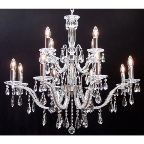 Fantastic Lighting Mozart 603/12+6 Chrome Beaded Arm & New Pear Shape Trimmings Chandelier