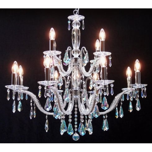 Fantastic Lighting Mozart 605/12+6 Chrome With Aurora Borealis Peardrop Trimmings Chandelier