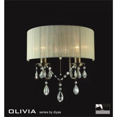 Diyas UK Olivia IL-IL30064/CR Antique Brass Crystal Twin Light Wall Light with Cream Shade