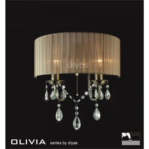 Diyas UK Olivia IL-IL30064/SB Antique Brass Crystal Twin Light Wall Light with Soft Bronze Shade