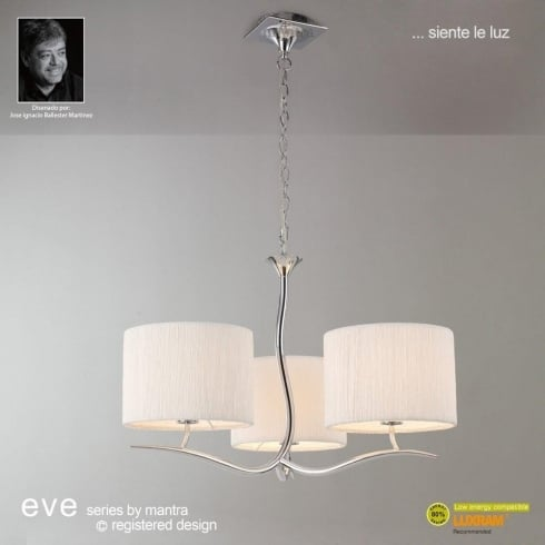 Mantra Spain Eve M1131 Polished Chrome Three Light With White Shade Pendant
