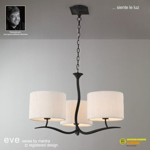 Mantra Spain Eve M1151 Anthracite Three Light Pendant with White Shade