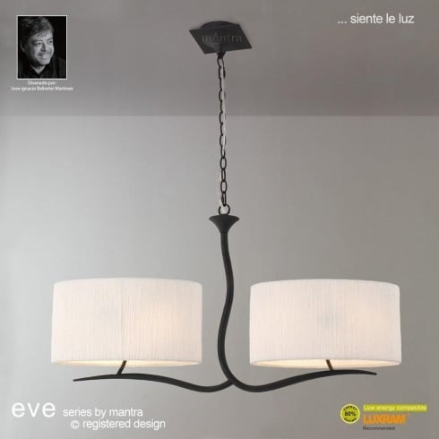 Mantra Spain Eve M1150 Anthracite Four Lamp Pendant with White Shade