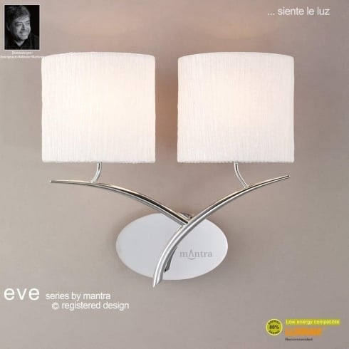 Mantra Spain Eve M1135 Polished Chrome Twin Light Wall Light with White Shade
