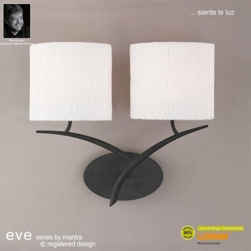 Mantra Spain Eve M1155 Anthracite Twin Lamp Wall Light with White Shade