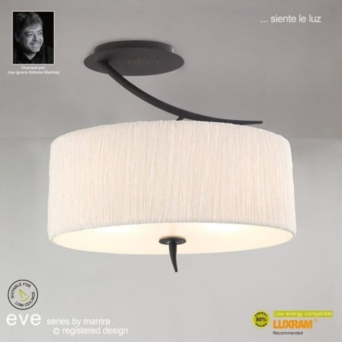 Mantra Spain Eve M1152 Anthracite Semi Three Light Ceiling Light with White Shade
