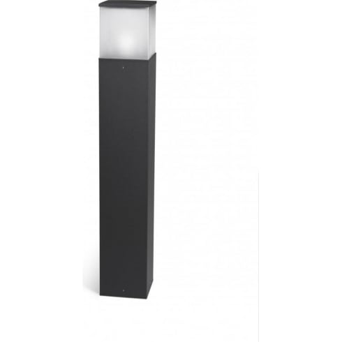 LedsC4 Lighting Cubik 55-9549-Z5-M3  Dark Grey Extruded Aluminium Matt Polycarbonate Diffuser Bollard