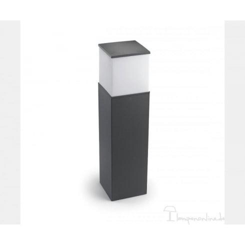 LedsC4 Lighting Cubik 55-9488-Z5-M3 Urban Grey Aluminium With Matt Polycarbonate Diffuser Bollard