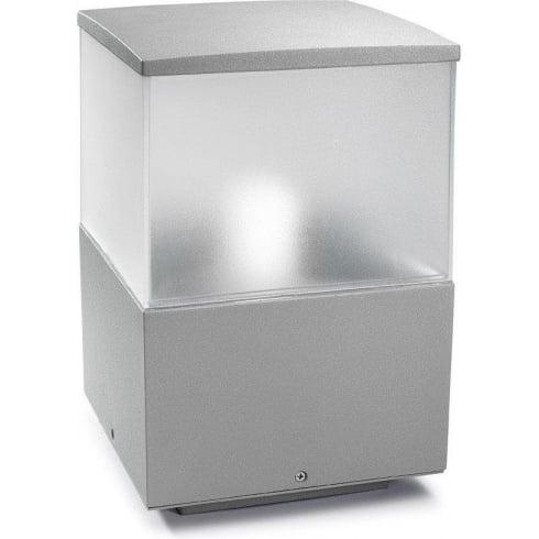 LedsC4 Lighting Cubik 10-9386-34-M3 Grey Satin Polycarbonate Glass Pedestal Light