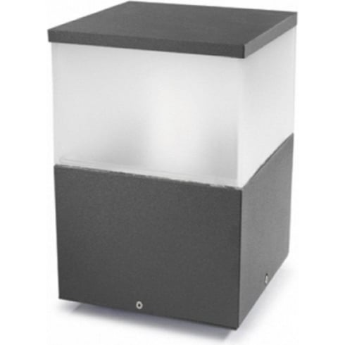 LedsC4 Lighting Cubik 10-9387-Z5-M3 Urban Grey Satin Polycarbonate Glass Pedestal Light