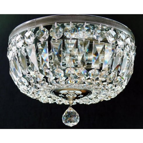 Fantastic Lighting Flush Baguette with Reflector Plate 522/30/3 Full Lead Crystal Trimmings