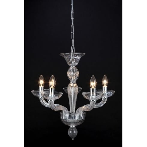 Impex Russell OASIS CF211081/05/CLR/CH Polished Chrome With Clear Shade Pendant