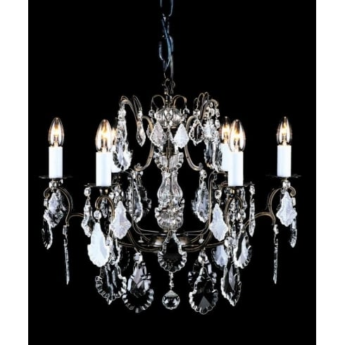 Impex Russell STRAZ CB00400/06 Antique Bronze With Crystal Detail Chandelier
