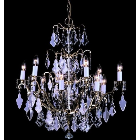 Impex Russell LOUVRE CP06003/12/PB Polished Brass Chandelier