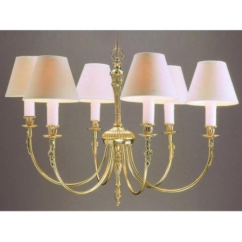 Impex Russell RICHMOND SMBB00016/PB Polished Brass With Shade 6 Light Pendant