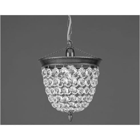 Impex Russell BAGUETTE ST03075/20/01/AN Antique Nickel With Crystal Detail Chandelier