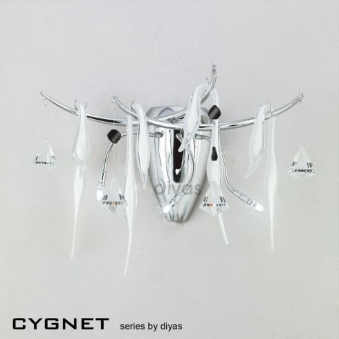 Diyas UK Cygnet IL-IL50421 Polished Chrome White Three Light Wall Light