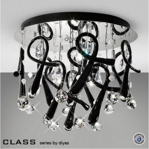 Diyas UK Class IL-IL50381 Chrome Crystal Black 10 Light Round Ceiling Light