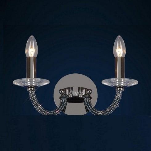 Diyas UK Elena IL-IL30472 Black Chrome Crystal Twin LighWall Light