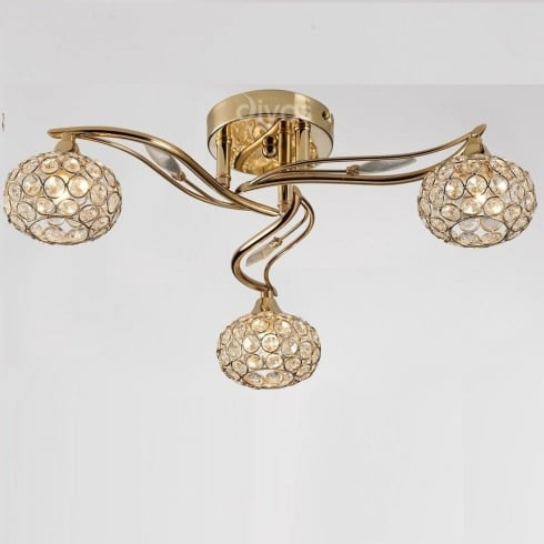 Diyas UK Leimo IL-IL30963 French Gold Crystal Three Lamp Ceiling Light