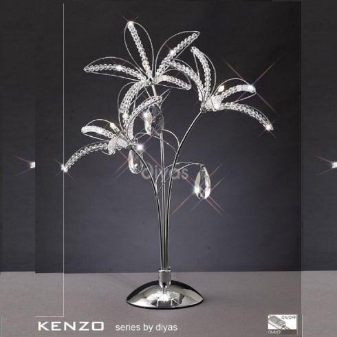 Diyas UK Kenzo IL-IL30882 Polished Chrome Crystal Three Light Table Lamp