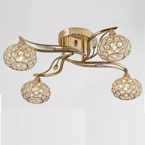 Diyas UK Leimo IL-IL30964 French Gold Crystal Four Light Ceiling Light