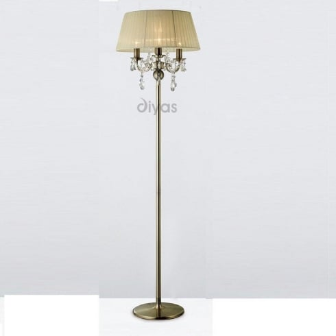 Diyas UK Olivia IL-IL30066/CR Antique Brass Crystal Three Light Floor Lamp with Cream Shade