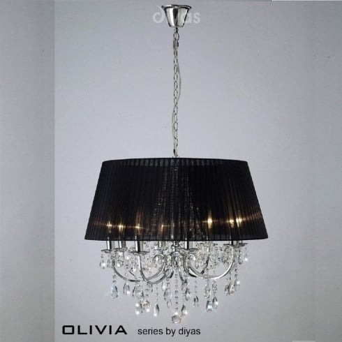 Diyas UK Olivia IL-IL30056/BL Polished Chrome Crystal Eight Light Pendant Ceiling Fitting with Black Shade