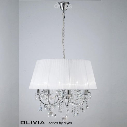Diyas UK Olivia IL-IL30056/WH Polished Chrome Crystal Eight Light Pendant Ceiling Fitting with White Shade