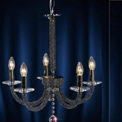 Diyas UK Elena IL-IL30475 Black Chrome Crystal Five Light Pendant Ceiling Fitting