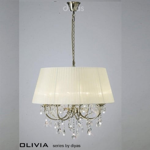 Diyas UK Olivia IL-IL30057/CR Antique Brass Crystal Eight Light Pendant Ceiling Fitting with Cream Shade